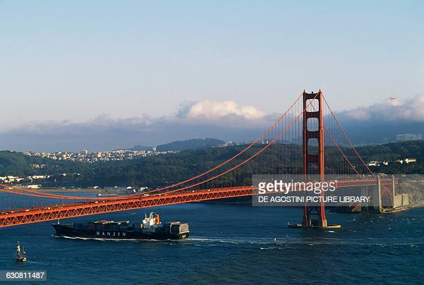 The Golden Gate Bridge 19331937 architect Joseph Baermann Strauss with the bay and the city of San Francisco in the background California United...