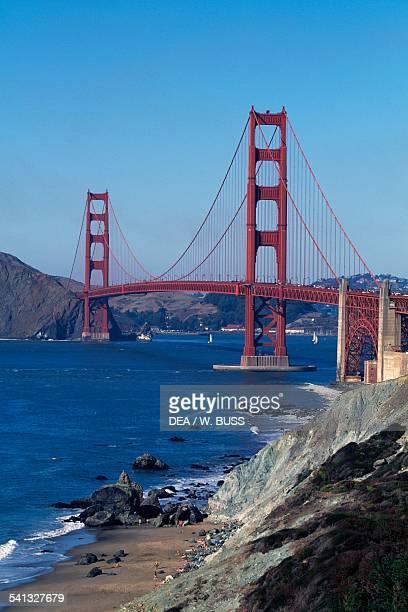 The Golden Gate Bridge and Baker Beach 19331937 by Joseph Baermann Strauss California United States of America