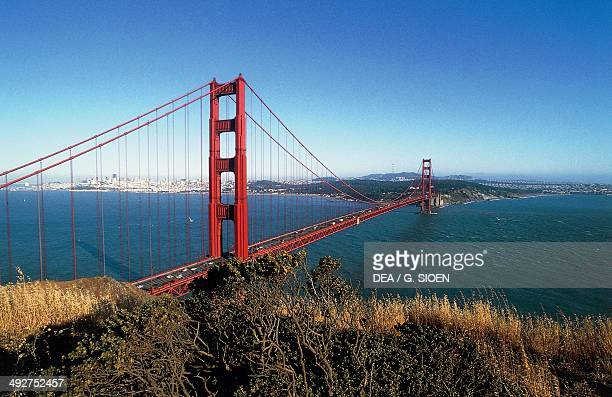 The Golden Gate Bridge by Joseph Baermann Strauss with the bay and the city of San Francisco in the background California United States of America...