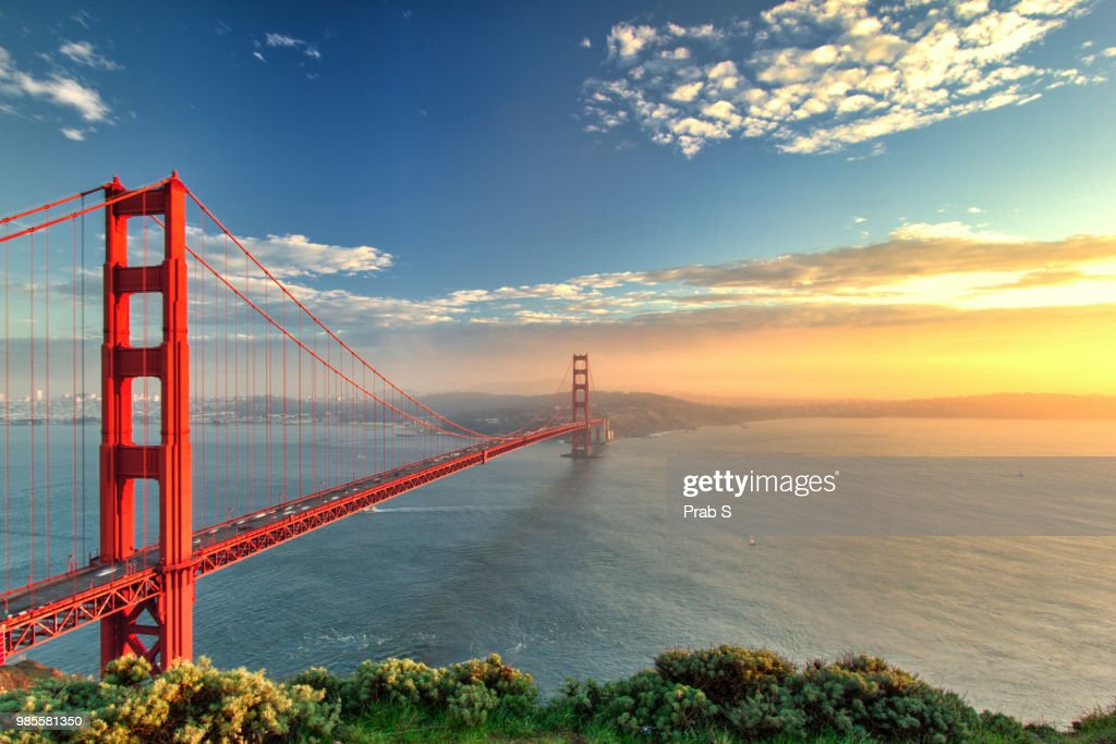The Golden Gate Bridge during sunset in San Francisco, California. : Stock Photo