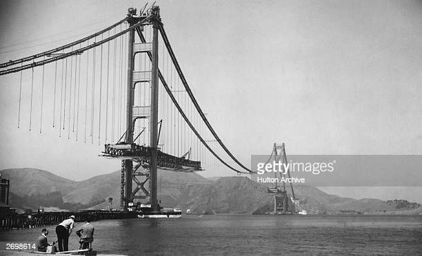 The Golden Gate Bridge in San Francisco during its construction