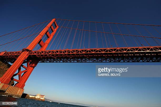 The Golden Gate Bridge is pictured from the Pacific Ocean on October 24 2008 The Golden Gate Bridge is a suspension bridge spanning the Golden Gate...