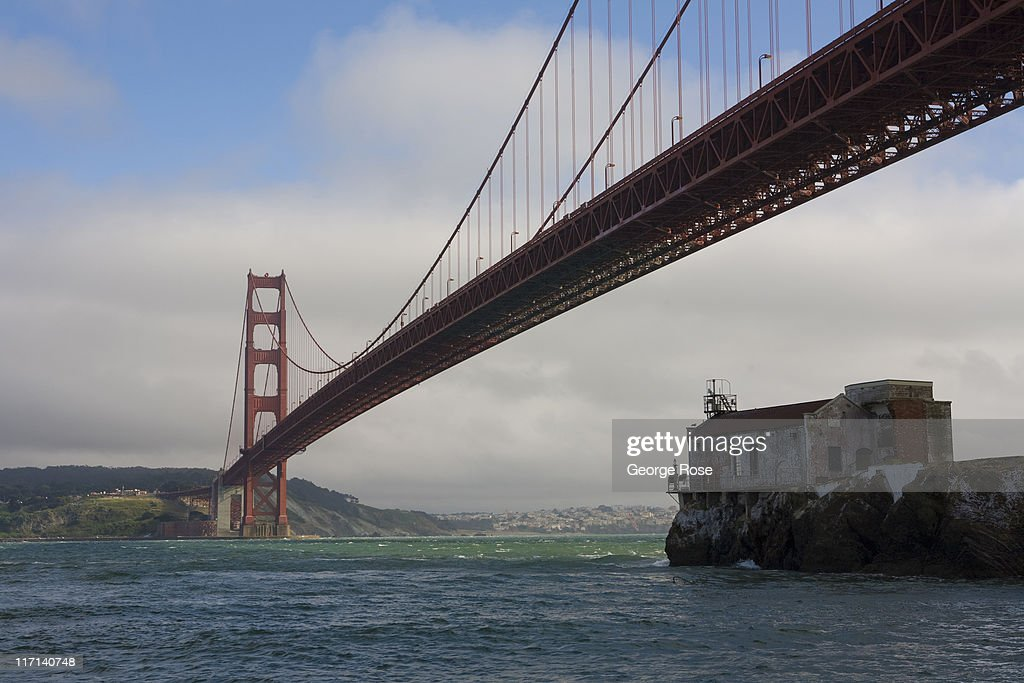 The Golden Gate Bridge is viewed from the bow of a tour boat on June 11, 2011 in Sausalito, California. The San Francisco Bay is home to thousands of sailing enthusiasts and will be the site of the 2013 America's Cup.