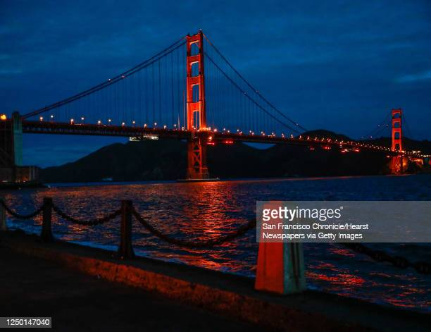 The Golden Gate Bridge just before sunrise is seen from Marine Drive on Monday, March 9, 2020 in San Francisco, California.