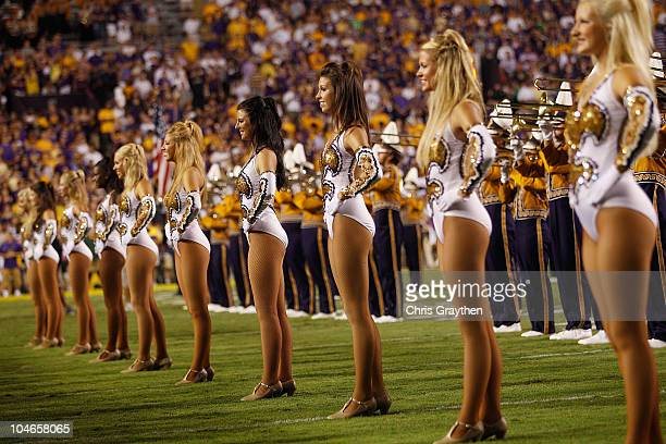The Golden Girls dance team perform during pregame before the Louisiana State Univeristy Tigers play the West Virginia Mountaineers at Tiger Stadium...