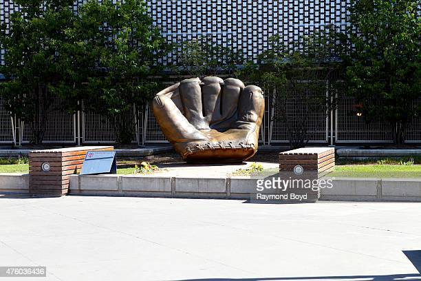 The Golden Glove statue sits outside Target Field home of the Minnesota Twins baseball team on May 22 2015 in Minneapolis Minnesota