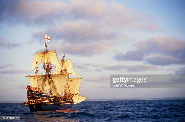 the golden hinde at sea - golden hind ship stock photos and pictures