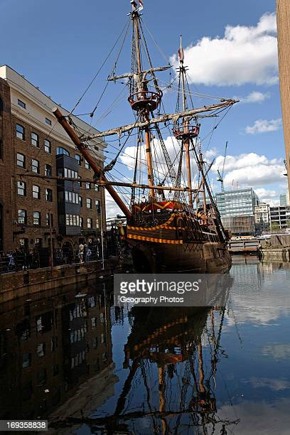 The Golden Hinde replica of Sir Francis Drake's warship St Mary Overie Dock Southwark London England