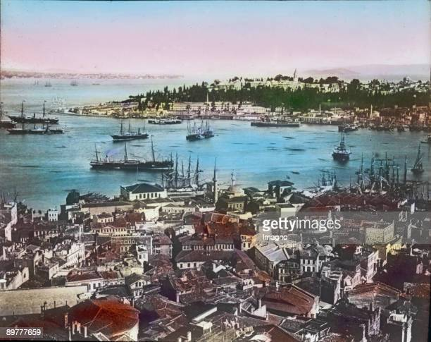 The Golden Horn in Constantinople and the district Sentari Handcolored lantern slide Around 1910