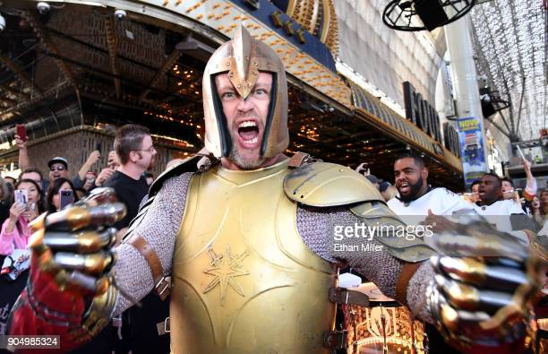 The Golden Knight gestures as he walks the red carpet at the Vegas Golden Knights Fan Fest at the Fremont Street Experience on January 14 2018 in Las...