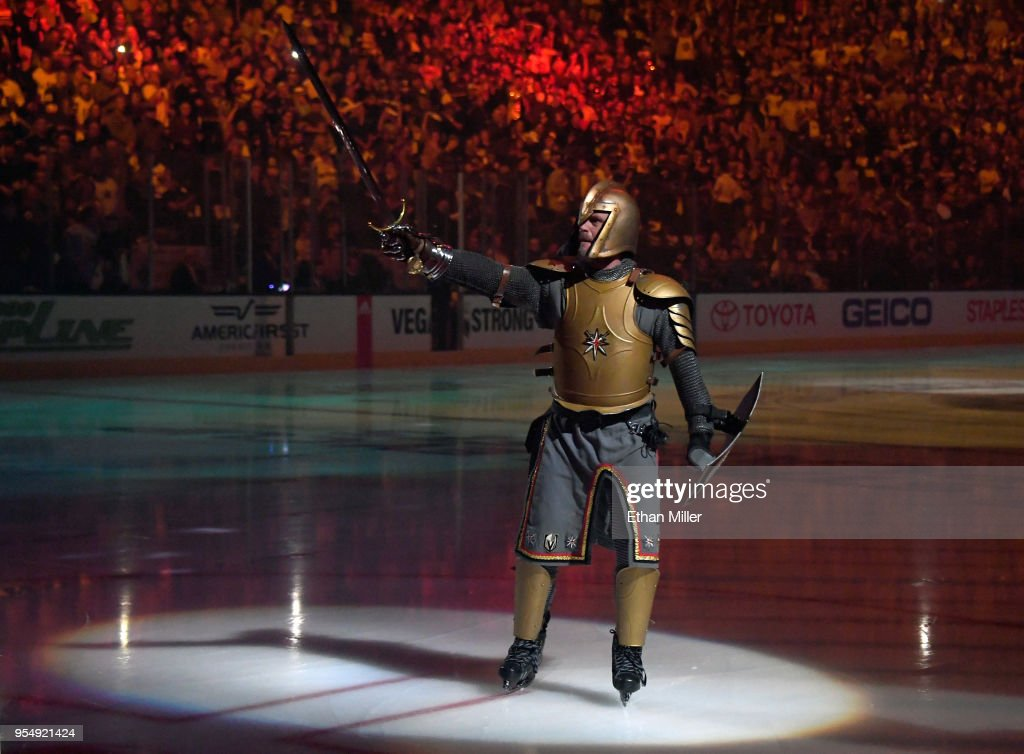 The Golden Knight performs during a pregame program before Game Five of the Western Conference Second Round between the San Jose Sharks and the Vegas Golden Knights during the 2018 NHL Stanley Cup Playoffs at T-Mobile Arena on May 4, 2018 in Las Vegas, Nevada. The Golden Knights won 5-3.