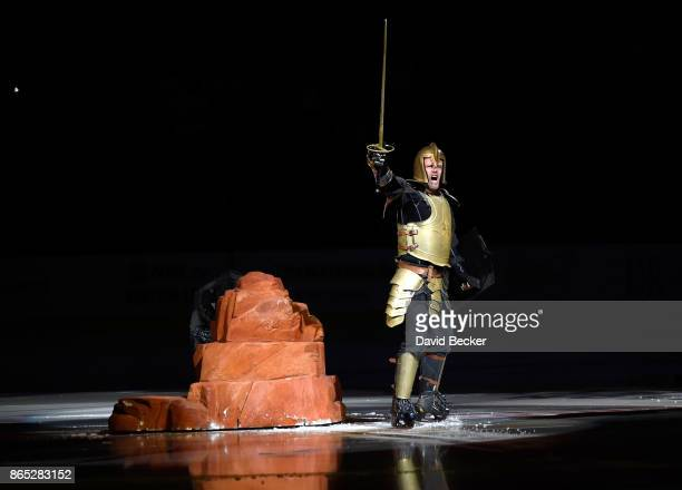 The Golden Knight performs on the ice before the Vegas Golden Knights' game against the St Louis Blues at TMobile Arena on October 21 2017 in Las...