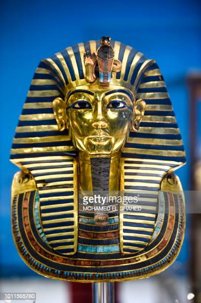 The Golden Mask of King Tutankhamun is seen on display at the Egyptian Museum in Cairo's Tahrir Square on August 5 2018