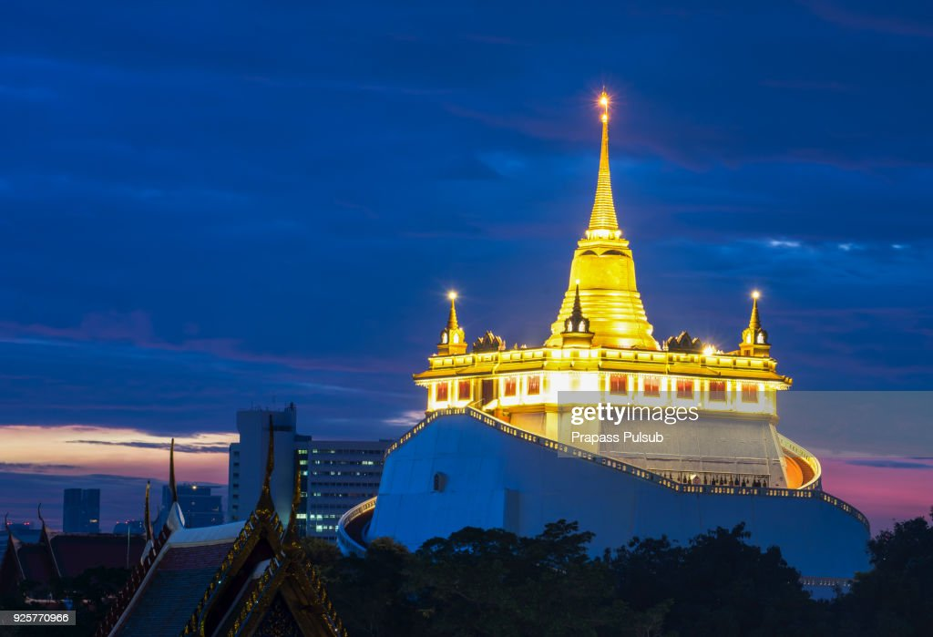 The Golden Mount at Wat Saket, Travel Landmark of Bangkok THAILAND : ストックフォト