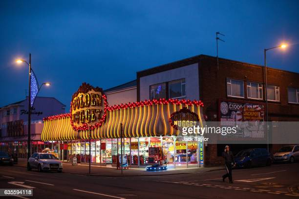 The Golden Nugget amusement arcade is pictured on February 8 2017 in Great Yarmouth United Kingdom The town of Great Yarmouth on the East Coast of...