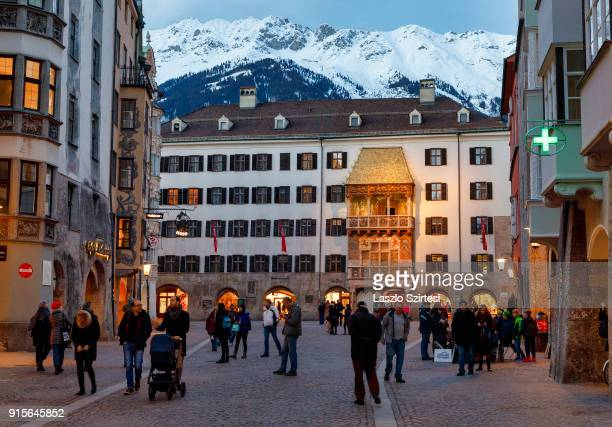 The Golden Roof and the Alps are seen at the Herzog-Friedrich-Straße on January 26, 2018 in Innsbruck, Austria.