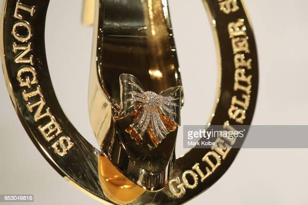 The Golden Slipper Trophy is seen at the 2017 Longines Golden Slipper Barrier Draw Media Call at Rosehill Gardens on March 14 2017 in Sydney Australia