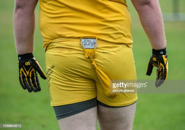The 'golden snitch' dangles from the trousers of a neutral player in yellow in a match of the Quidditch World Championships 2016 in Frankfurt on the...