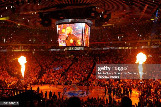The Golden State Warriors are introduced before Game 2 of the NBA Finals against the Cleveland Cavaliers at Oracle Arena in Oakland Calif on Sunday...