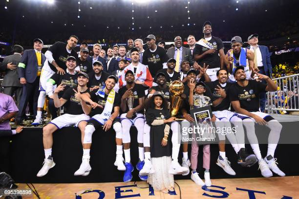 The Golden State Warriors are pictured after winning the NBA Championship in Game Five against the Cleveland Cavaliers of the 2017 NBA Finals on June...