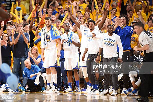 The Golden State Warriors bench celebrates during the game against the Cleveland Cavaliers in Game Two of the 2016 NBA Finals on June 5 2016 at...
