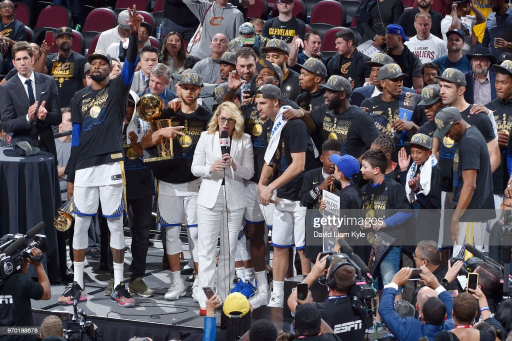 OH - The Golden State Warriors celebrate a four game sweep after the game against the Cleveland Cavaliers as they hold the Larry O'Brien NBA Championship Trophy after Game Four of the 2018 NBA Finals on June 8, 2018 at Quicken Loans Arena in Cleveland, Ohio.