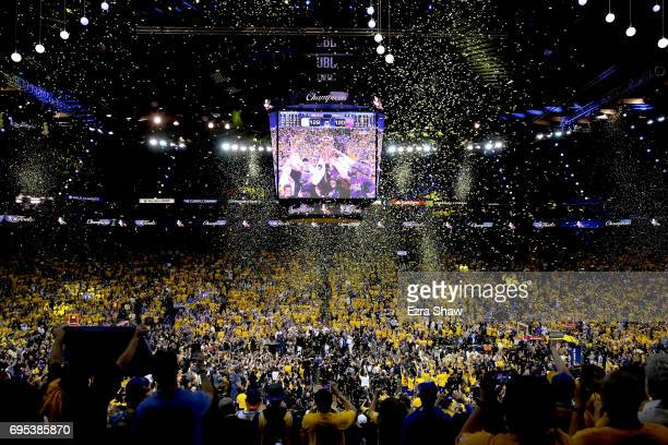 The Golden State Warriors celebrate after defeating the Cleveland Cavaliers 129120 in Game 5 to win the 2017 NBA Finals at ORACLE Arena on June 12...