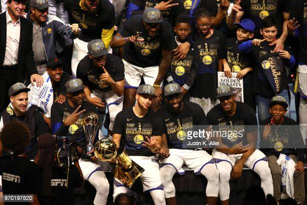 The Golden State Warriors celebrate after defeating the Cleveland Cavaliers during Game Four of the 2018 NBA Finals at Quicken Loans Arena on June 8...