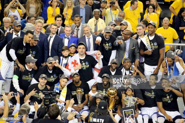 The Golden State Warriors celebrate after winning Game Five of the 2017 NBA Finals against the Cleveland Cavaliers on June 12 2017 at ORACLE Arena in...