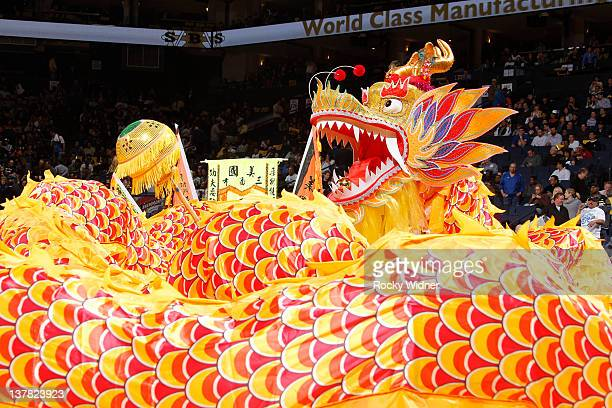 The Golden State Warriors celebrate Chinese New Years with a halftime dragon dancing show on January 27 2012 at Oracle Arena in Oakland California...