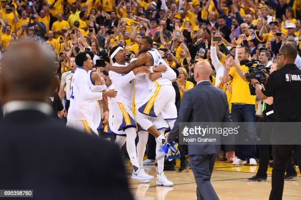 The Golden State Warriors celebrate defeating the Cleveland Cavaliers in Game Five of the 2017 NBA Finals on June 12 2017 at Oracle Arena in Oakland...