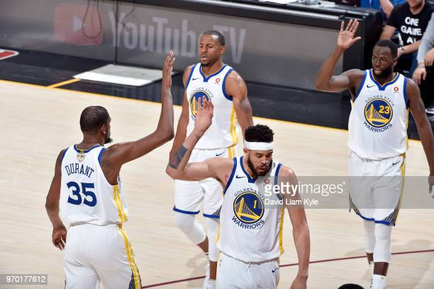 OH The Golden State Warriors celebrate during the game against the Cleveland Cavaliers in Game Four of the 2018 NBA Finals on June 8 2018 at Quicken...