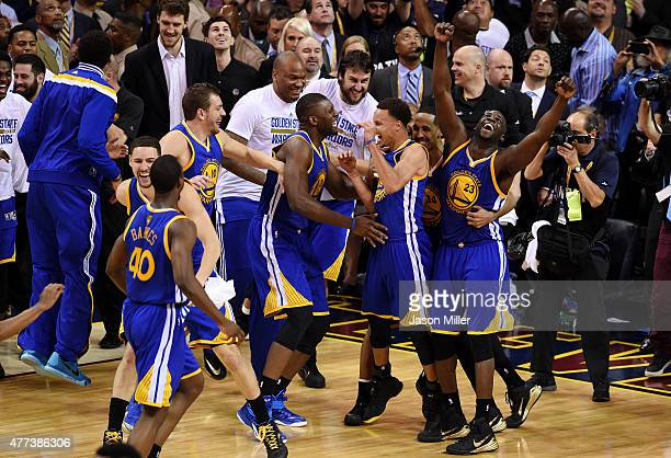 The Golden State Warriors celebrate their 105 to 97 win over the Cleveland Cavaliers in Game Six of the 2015 NBA Finals at Quicken Loans Arena on...