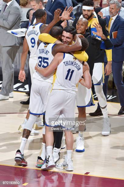 OH The Golden State Warriors celebrate their victory over the Cleveland Cavaliers at the end of Game Four of the 2018 NBA Finals on June 8 2018 at...