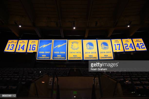 The Golden State Warriors championship banners are seen before the game between the Washington Wizards on October 27 2017 at ORACLE Arena in Oakland...