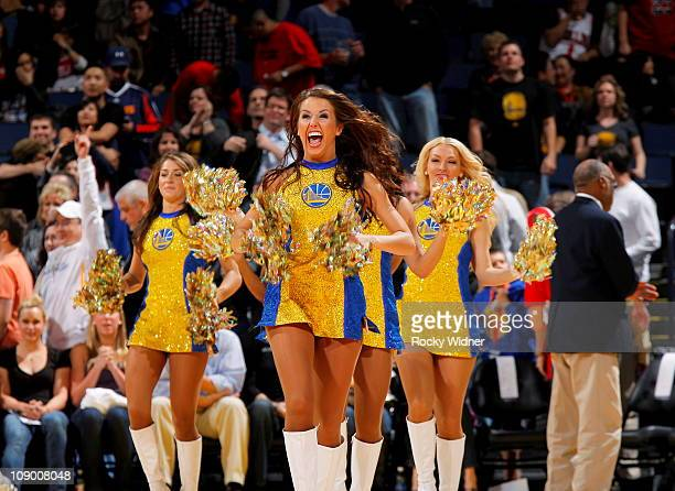 The Golden State Warriors dance team entertains the fans during a timeout against the Chicago Bulls on February 5 2011 at Oracle Arena in Oakland...
