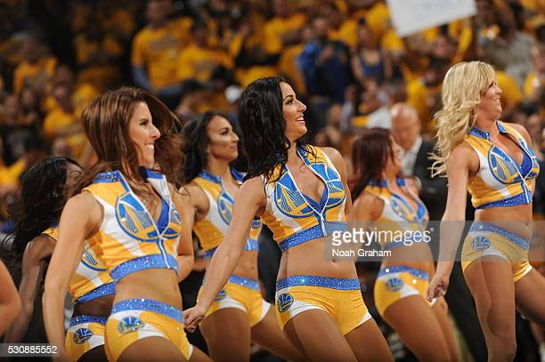 The Golden State Warriors dance team is seen against the Portland Trail Blazers in Game Five of the Western Conference Semifinals on May 11 2016 at...