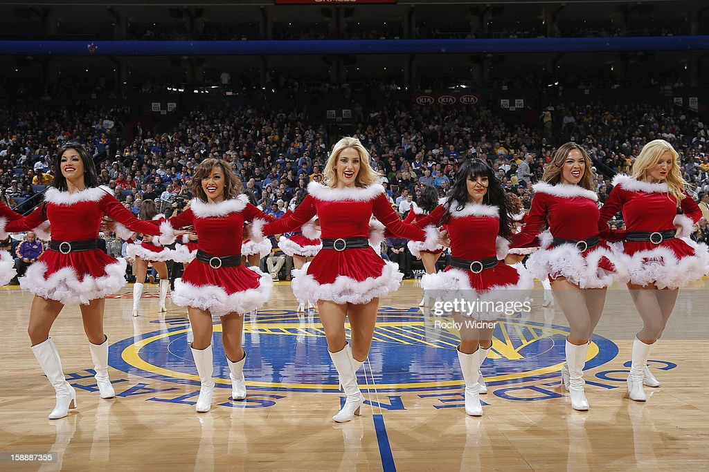 The Golden State Warriors dance team perform in a game against the Los Angeles Lakers on December 22, 2012 at Oracle Arena in Oakland, California.