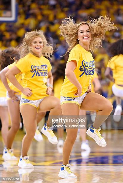 The Golden State Warriors Dance Team performs against the Houston Rockets in the fourth quarter in Game One of the Western Conference Quarterfinals...