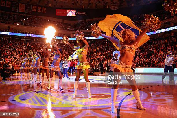 The Golden State Warriors dance team performs during player introductions before their game against the Houston Rockets at ORACLE Arena on January 21...