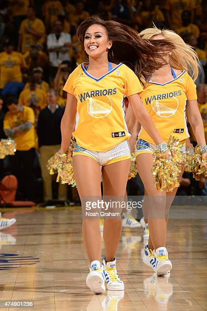 The Golden State Warriors dance team performs during the game against the Houston Rockets in Game Five of the Western Conference Finals of the 2015...