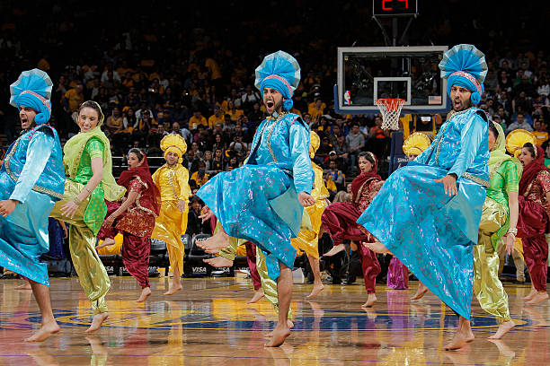 The Golden State Warriors features a special Bollywoodstyle preformance as the Bhangra Empire dances during a game against the New York Knicks on...