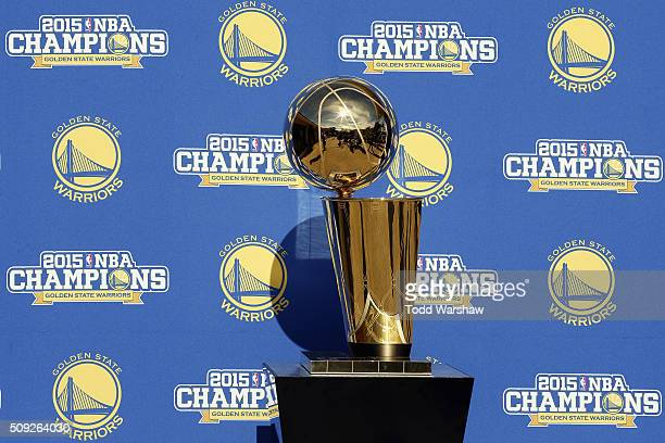 The Golden State Warriors' Larry O'Brien NBA Championship trophy is displayed near the 1st tee box prior to the ATT Pebble Beach National ProAm at...