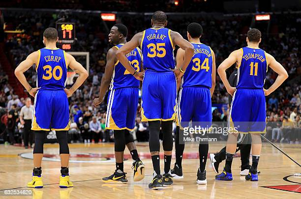 The Golden State Warriors line up during a game against the Miami Heat at American Airlines Arena on January 23 2017 in Miami Florida NOTE TO USER...