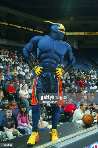 The Golden State Warriors mascot Thunder entertains the children during the NBA Read To Achieve Warriors Kids Day at The Arena in Oakland on April 5...