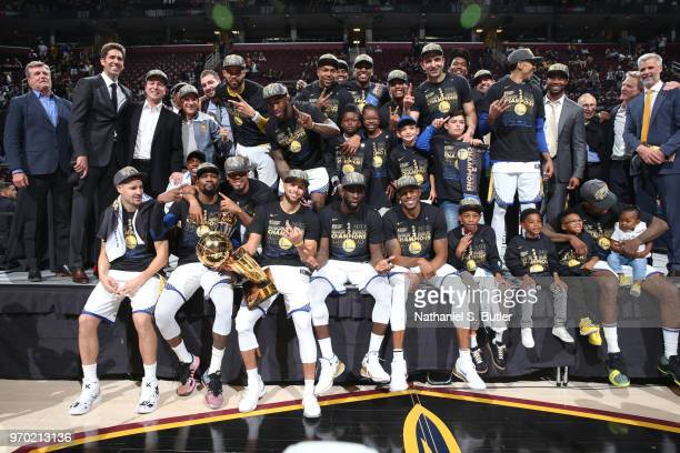 The Golden State Warriors pose for a photo after Game Four of the 2018 NBA Finals against the Cleveland Cavaliers on June 8 2018 at Quicken Loans...