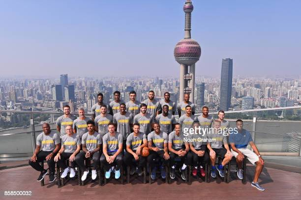 The Golden State Warriors pose for a team photo as part of 2017 NBA Global Games China on October 7 2017 at the Ritz Carlton in Shanghai China NOTE...