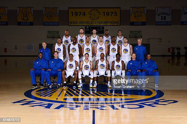 The Golden State Warriors pose for a team photo on April 10 2015 at Oracle Arena in Oakland California NOTE TO USER User expressly acknowledges and...