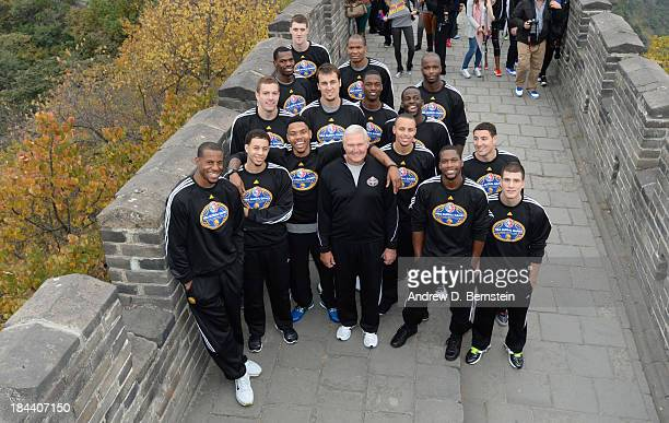 The Golden State Warriors poses for a team photo as they visits the Great Wall as part of 2013 Global Games on October 13 2013 at the Great Wall in...