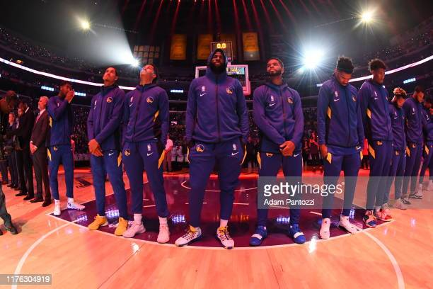The Golden State Warriors stand for the National Anthem prior to a preseason game against the Los Angeles Lakers on October 16 2019 at STAPLES Center...